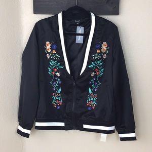 NWT embroidered varsity bomber jacket